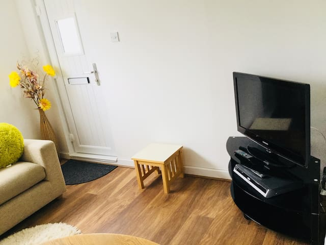 Lovely living room with side table and TV and DVD player