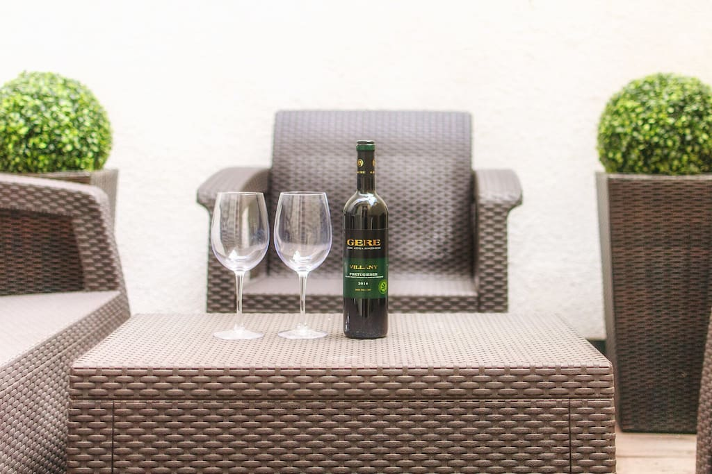 Enjoy the terrace with a glass of Hungarian wine!:)