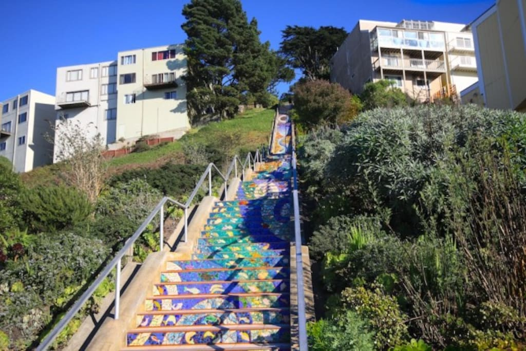 The Mosaic Steps, a local community art project which draws crowds of people. Only steps away from our place!
