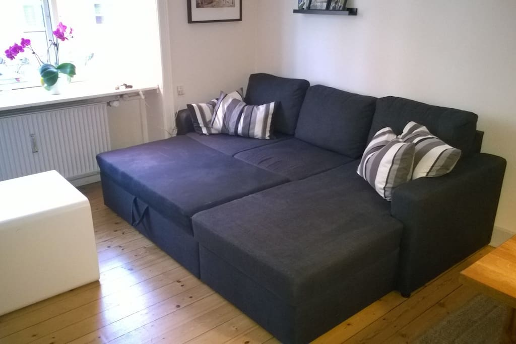 The sofa unfolded as a double bed