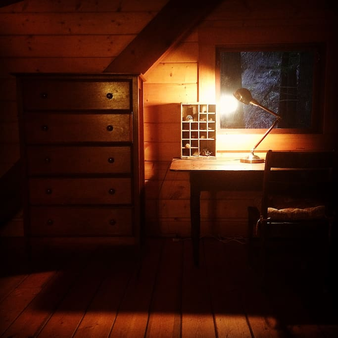 Writers Desk upstairs in the cabin