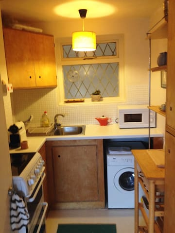 This small galley kitchen has all you need, including a Nespresso coffee machine