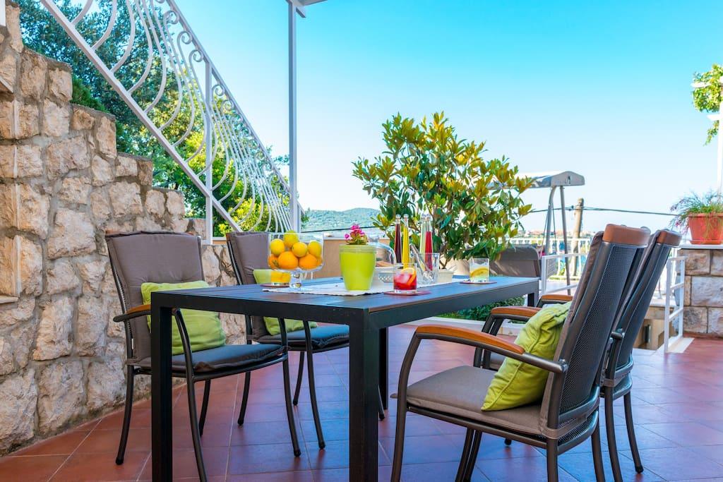 dining area on spacious terrace
