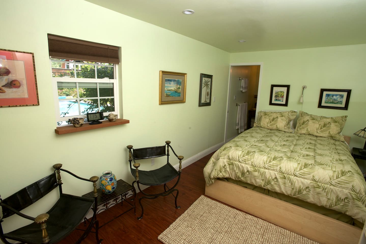 Queen Bed and Antique Chairs