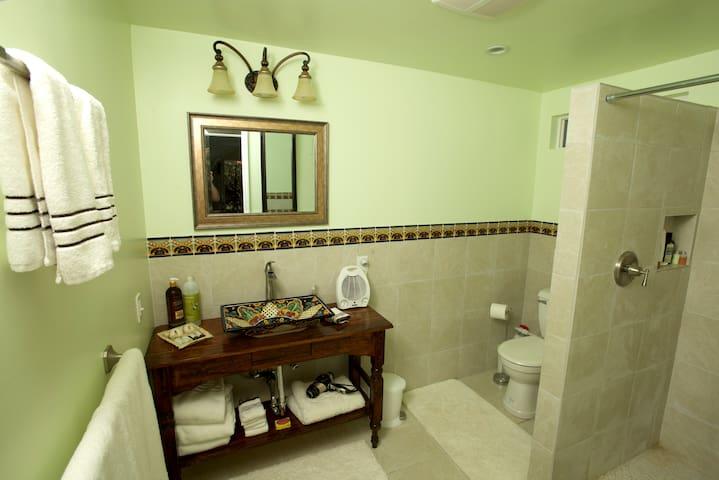 Custom Vanity and Waterfall Shower