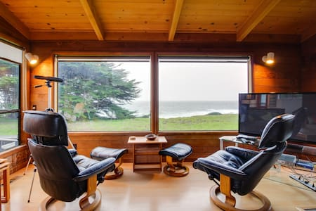 Oceanfront home w/ a private hot tub, views & shared pool - steps from trails!