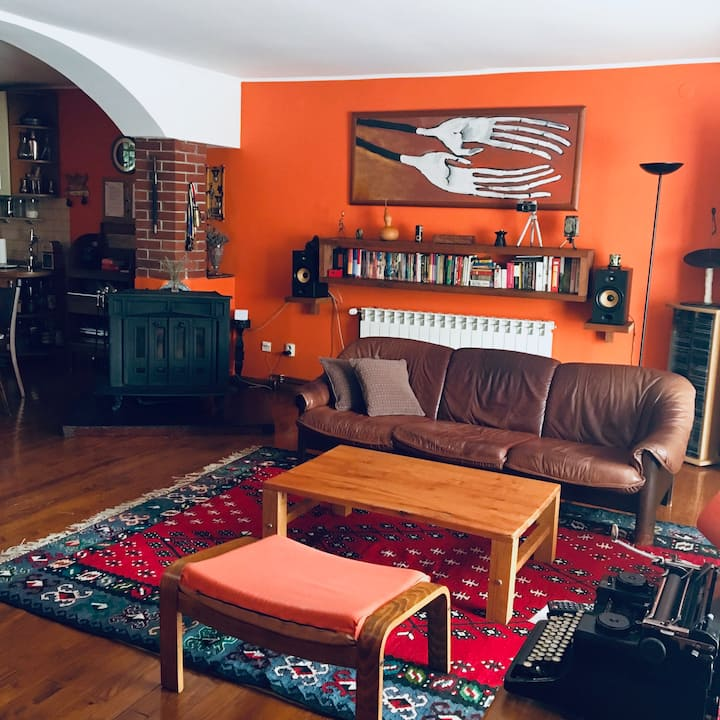 Cozy orange hacienda in center