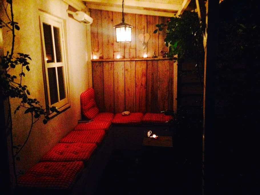 Porch with heater