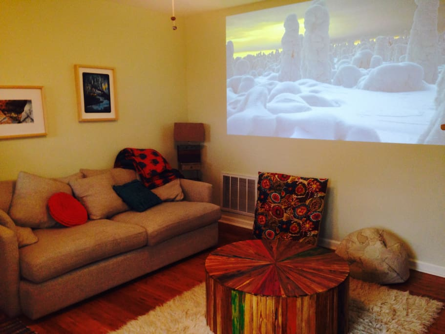 watch your preferred online viewing options via projector.