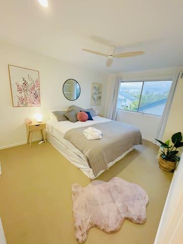 Main bedroom  Fan  Comfy King bed