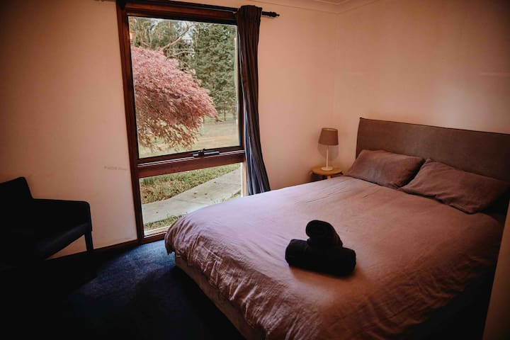 One of the bedrooms downstairs.