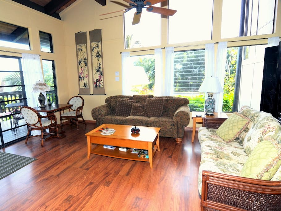 Spacious living room on main floor with private lanai, WIFI, cable DVR, entertainment center, full size washer/dryer