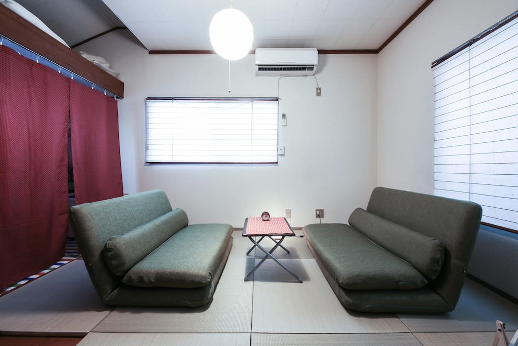 2 green sofas on Tatami (Japanese Traditional Flooring)#1