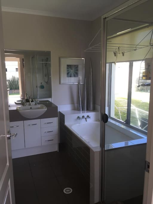 guest bathroom with separate toilet.