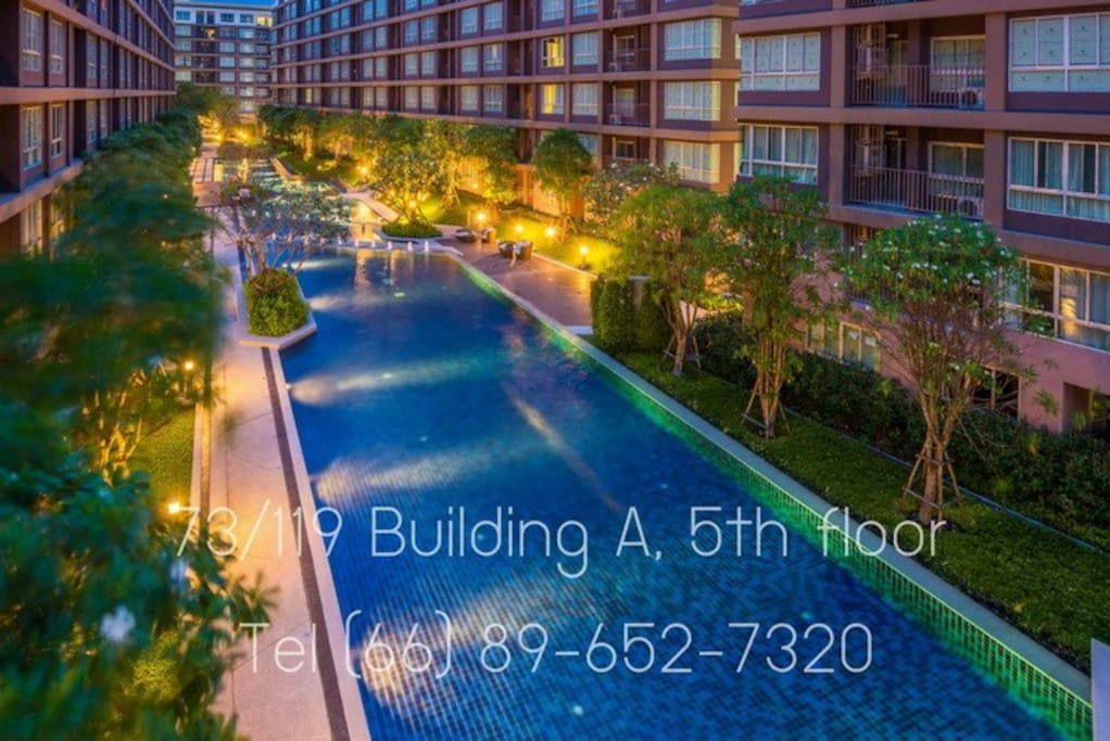 This resort-inspired condominium is derived from a beautiful nature of the creek and mountain reflect with 100 meters long swimming pool and green spaces throughout