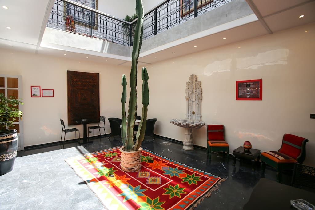 Open patio with beautiful cactus.