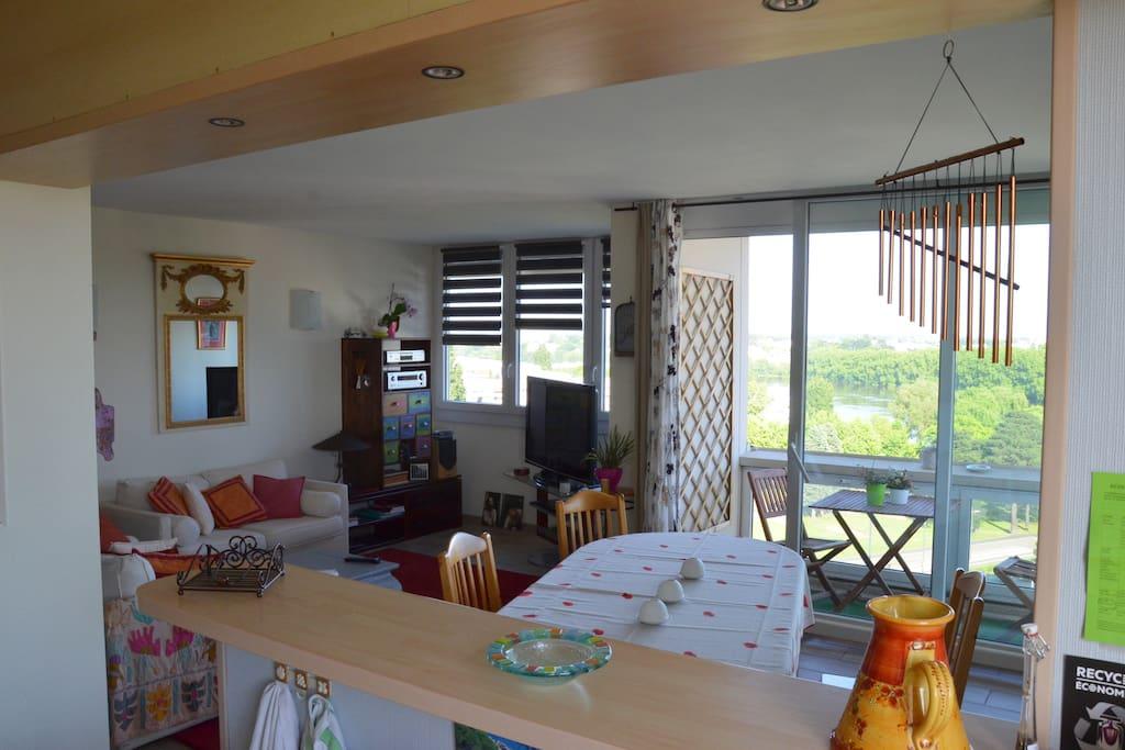 Salon lumineux avec vue sur le Sud-Loire (Vue de la cuisine)