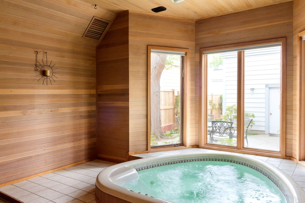 The hot tub room is an excellent space to begin and end the day.