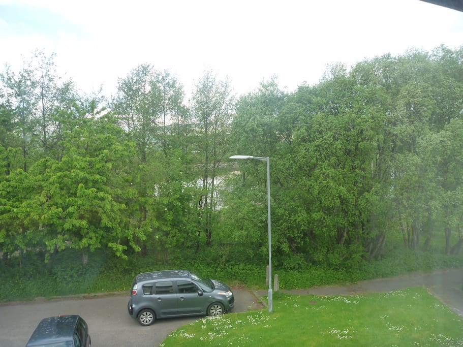 Double Bedroom View with car space with River Lochy in background