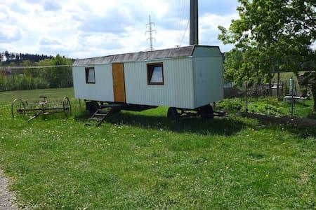 Pokoj v maringotce na Minifarmě Falbgery v Borové