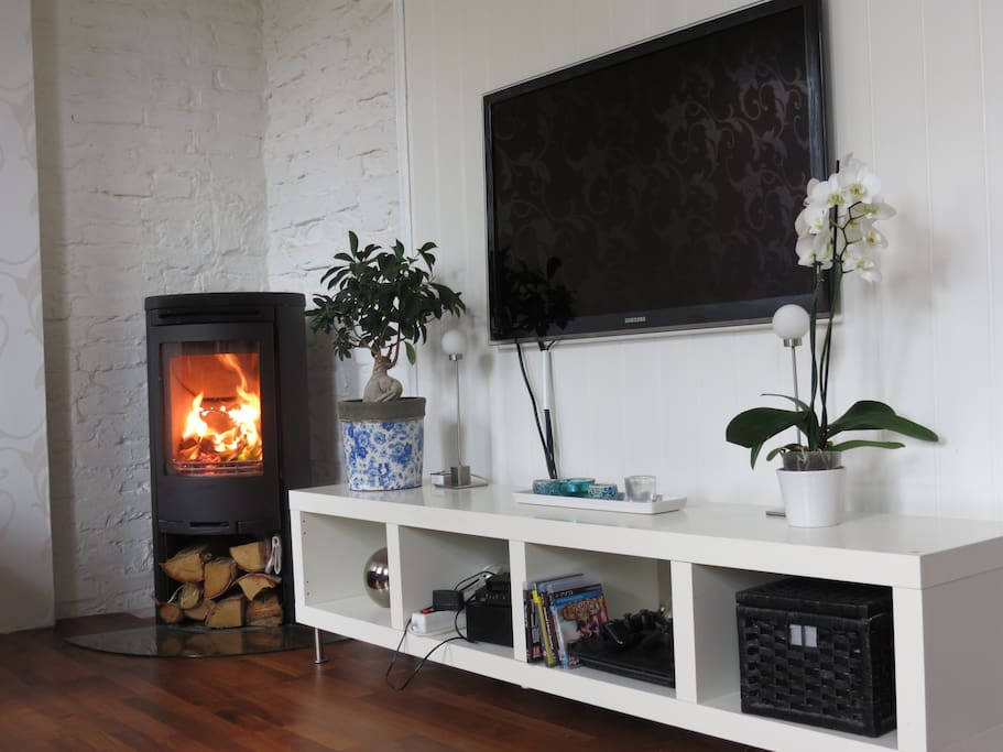 Fireplace and large TV with many international channels. You are also welcome to play games on the Playstation or watch Netflix on the apple-TV.