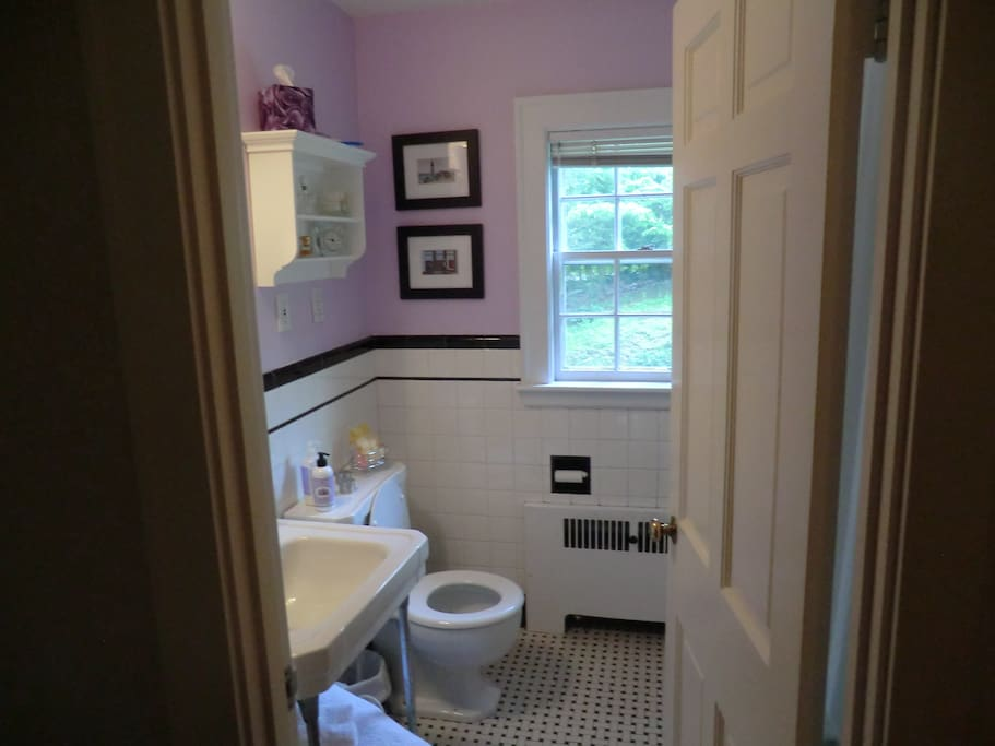 Your private bathroom is 4 steps away from your bedroom door.  Has tub/shower and hair dryer.