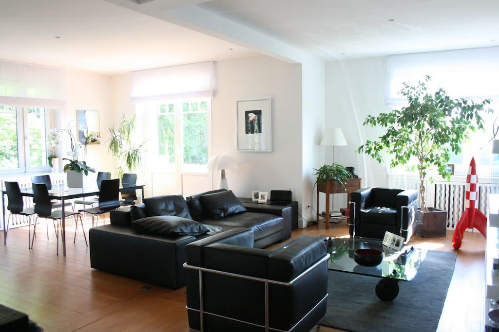 Vue d'ensemble du salon et de la salle à manger - photo prise de la cuisine; à gauche de la photo, se situerait le petit salon