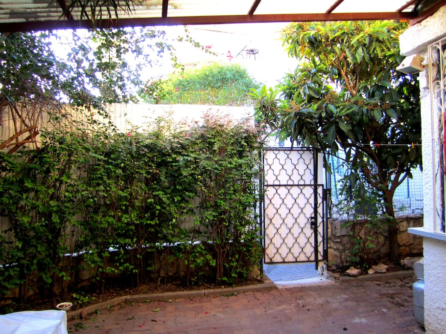 The entrance to the apartment is through the patio, seen here.  This is the gate seen from inside the patio.