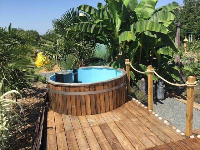 Grande Chambre, avec wc/douche+Nordic spa+piscine