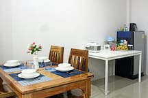 Dinning table and kitchen area