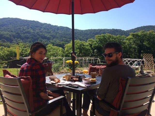 LUX SUNSET EN SUITE ~ HOT-TUB ~ DTN 2M ~ CROISSANT - Asheville - Bed & Breakfast