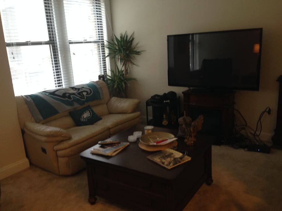 Sofa, LG TV w/ cable, battery powered fire place