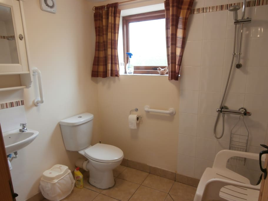 Wet room with disabled facilities on ground floor.