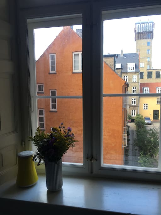 View from room. Old charming houses of Copenhagen.