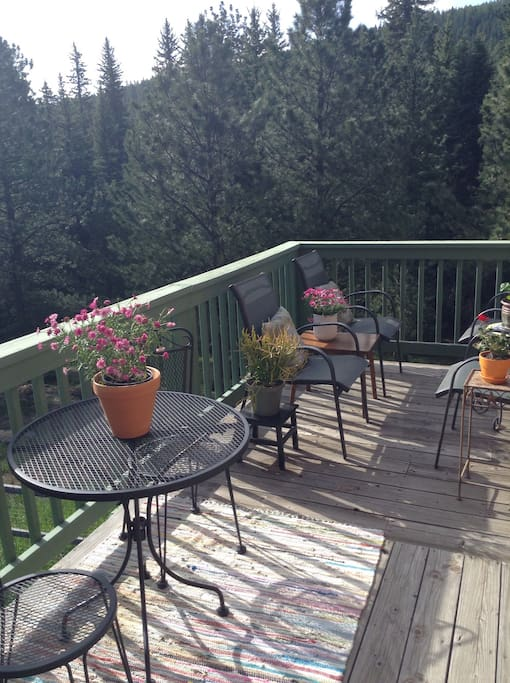 Enjoy deck filled with flowers and hummingbirds overlooking national forrest.