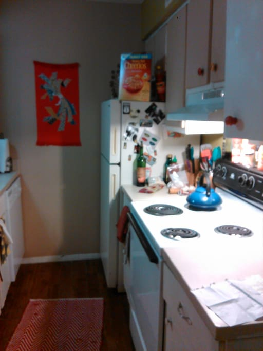 Kitchen area, teapot for your usage! Honestly you can use everything in the kitchen :)