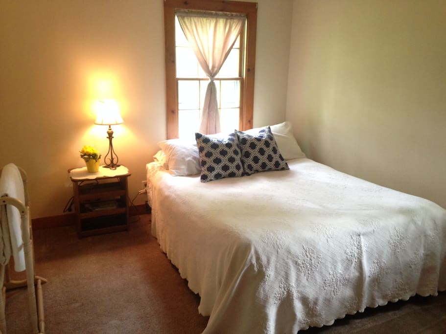 Bedroom One: comfortable queen bed. Room overlooks the lovely backyard.