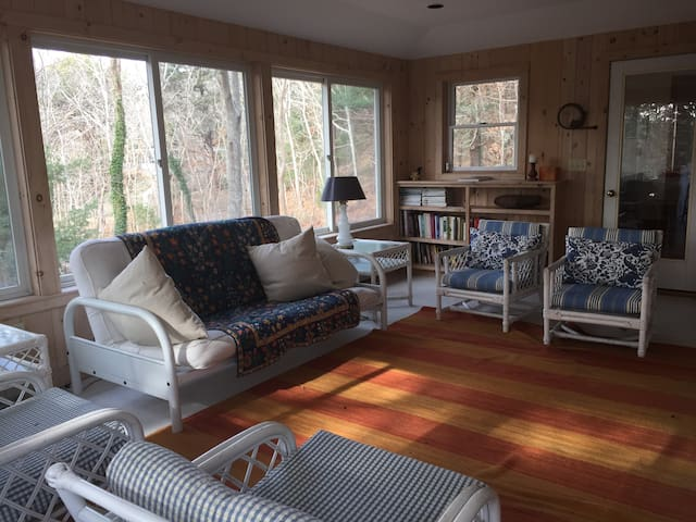 the sunroom has a futon that opens to a full bed