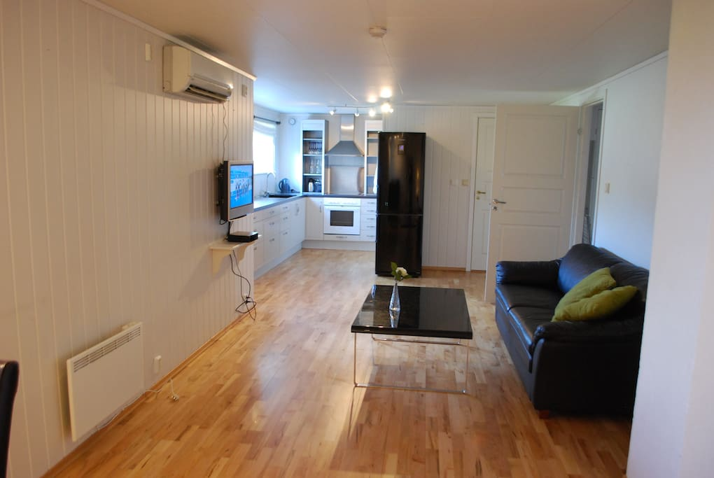 A spacious, clean and nice living room with kitchen, possibly shared with some other guests.