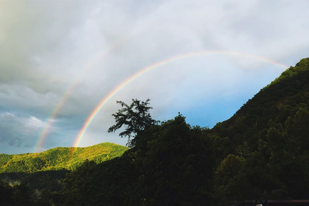 double rainbow over your very own mountain!