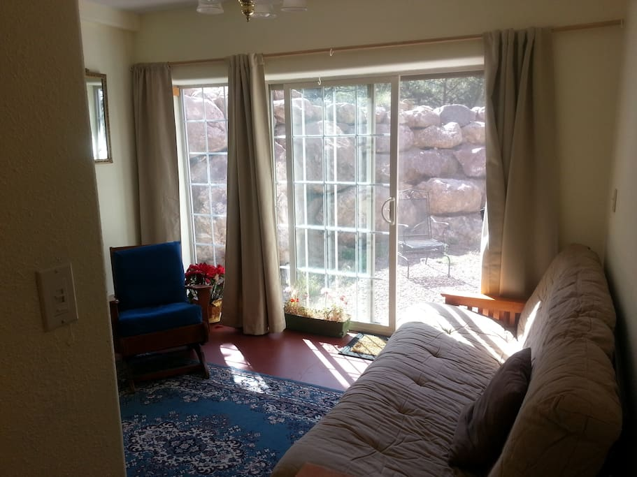 sitting room and/or second bedroom with second private patio