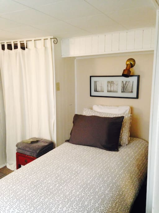 Single bed - room for one person.  Good quality bed and comfy.