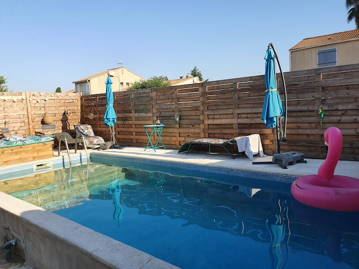 Villa piscine privee à 2 pas de montpellier