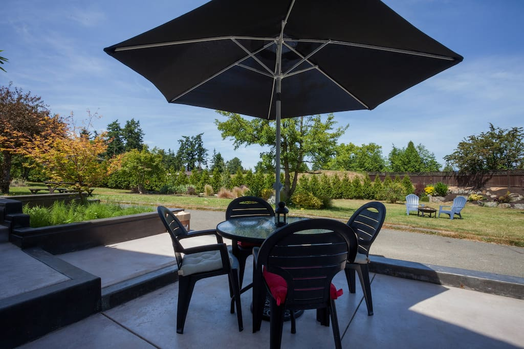 Outdoor dining. Private patio for the suite.