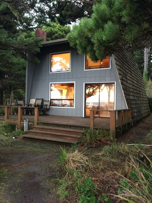 Our A-Frame cabin in the evening.