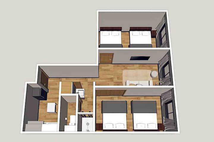 「202号室」大阪黑門市場2分鐘 日本橋地鐵站3分鐘 58m²兩室一廳房型 中文OK