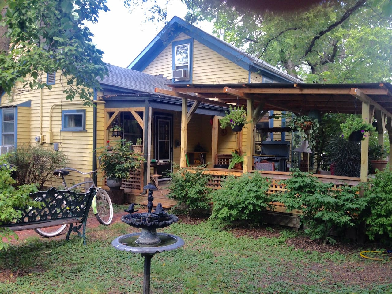 """Roberta 2019 """"This is a lovely house full of thoughtful extras. It was just like being at home, and the pictures don't do it justice!"""" Back of house, back porch & yard - 5 birdhouses, 3 birdbaths! - Bird Watchers paradise, plus squirrels, bunnies..."""