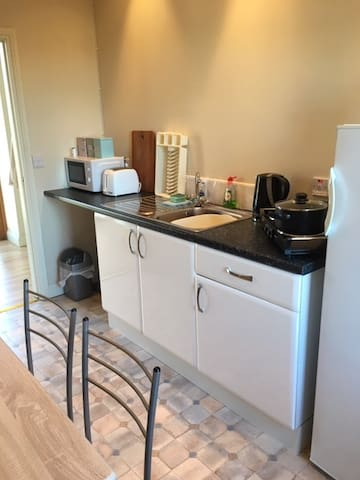 Kitchenette has fridge, microwave, kettle, toaster and two hob rings ( no oven).