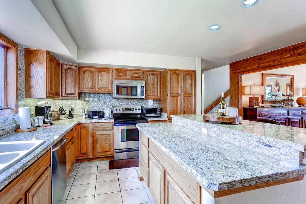 The kitchen is luxurious and modern