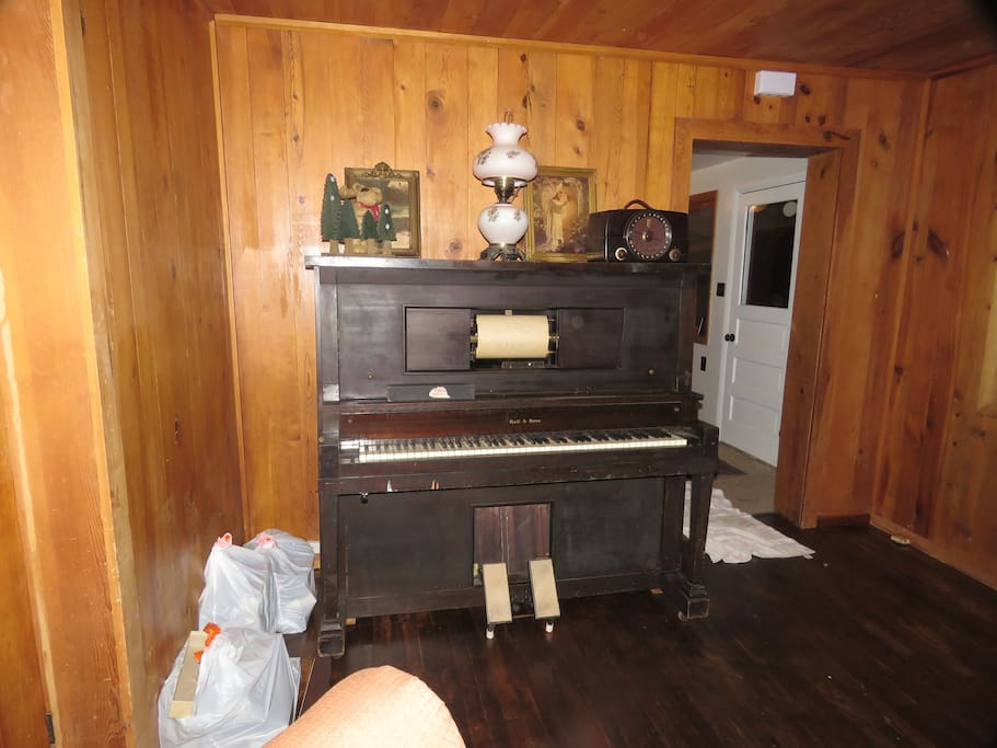 early 1900's player piano that adults can enjoy.  Instructions on how to turn it on and load music rolls are now displayed on it./